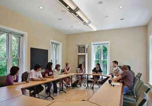 First-year students at Vassar College gather in discussion of INRAI for orientation antiracism programming.