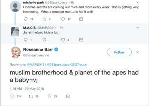 Roseanne Tweets About Former White House Advisor, Valerie Jarrett